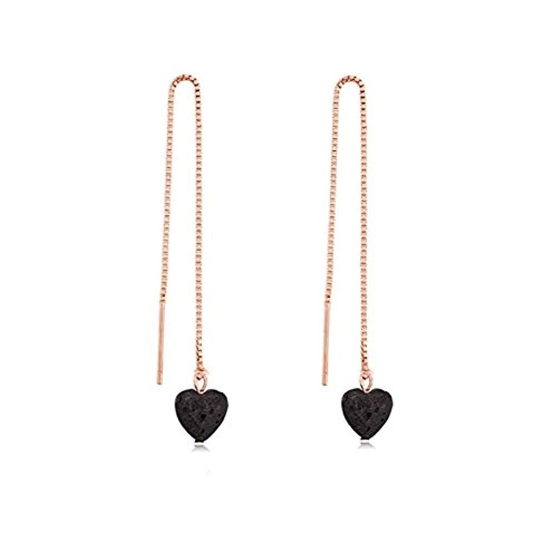 シーズン試験皮manzhen Small Heart Shape Lava Stone ThreaderイヤリングEssential Oil Diffuserイヤリング