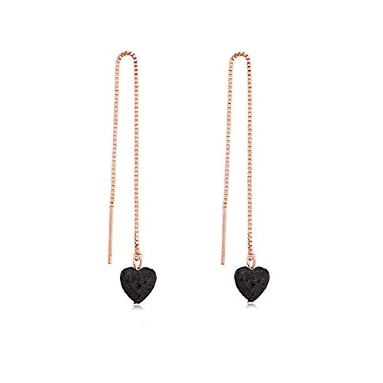 憂鬱なコア潮manzhen Small Heart Shape Lava Stone ThreaderイヤリングEssential Oil Diffuserイヤリング