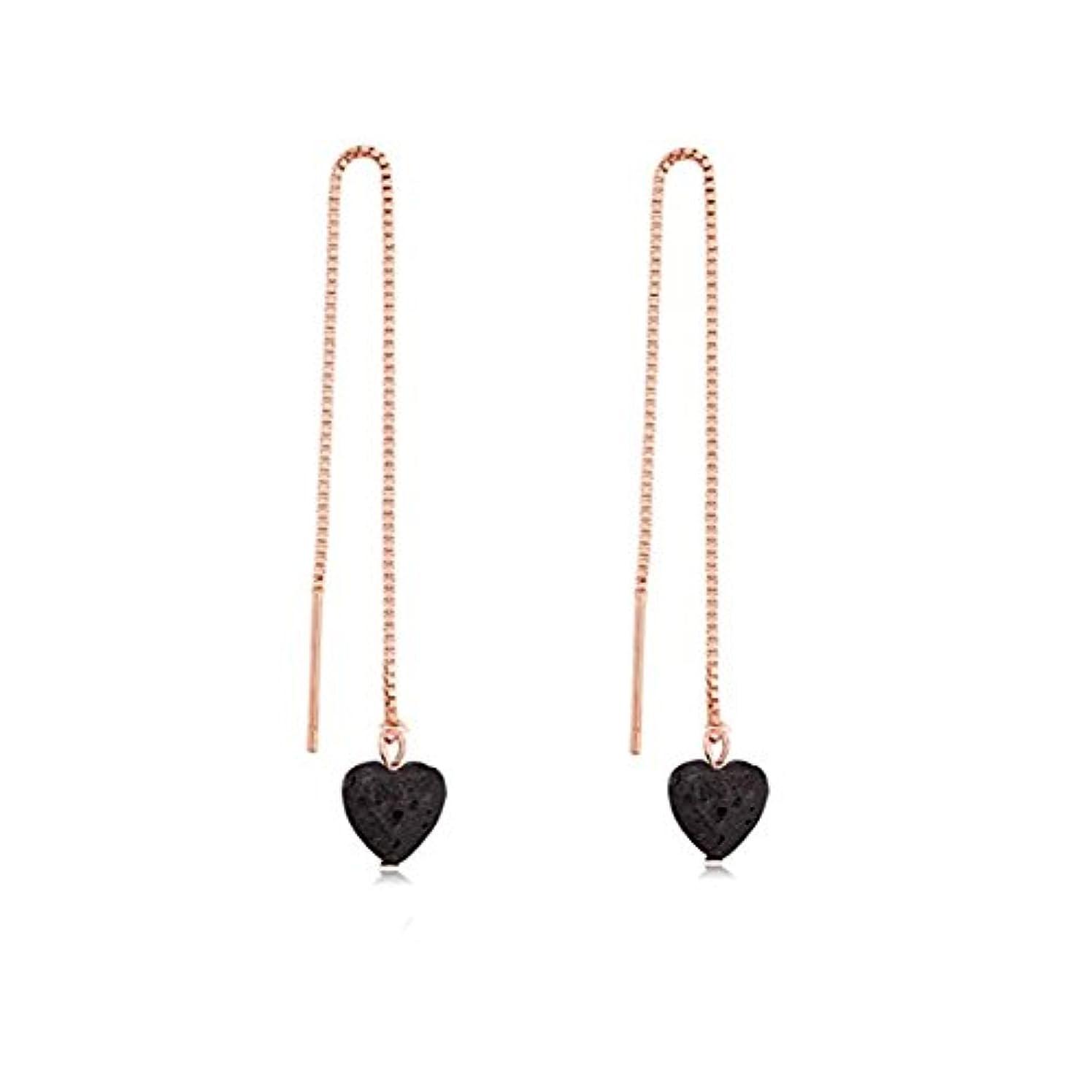タンクアレイポンペイmanzhen Small Heart Shape Lava Stone ThreaderイヤリングEssential Oil Diffuserイヤリング