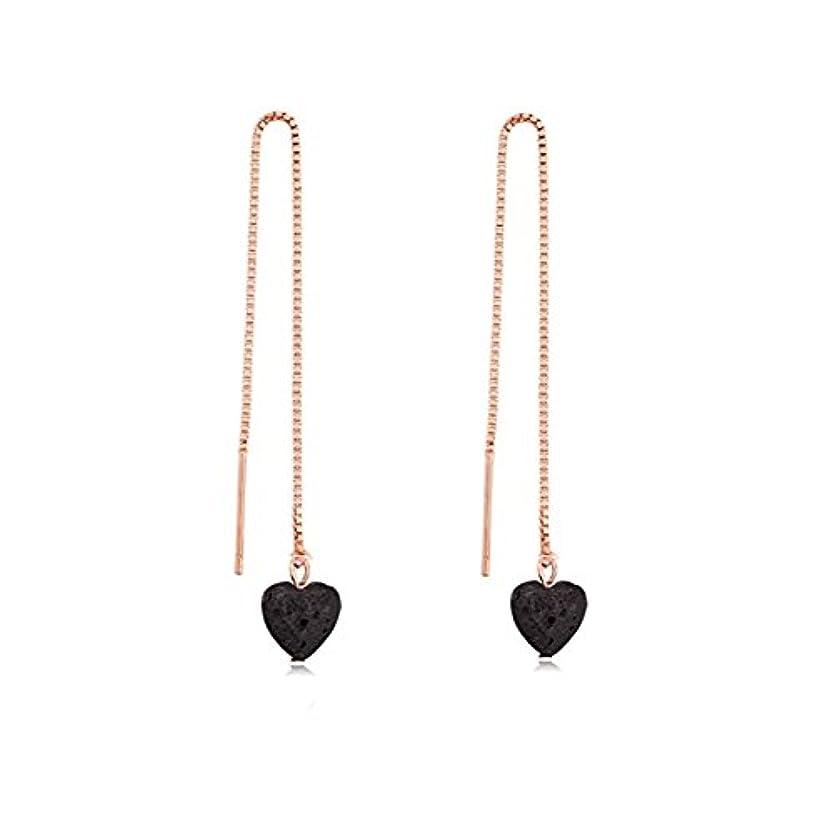 キャプテンブライ見る人ケーブルカーmanzhen Small Heart Shape Lava Stone ThreaderイヤリングEssential Oil Diffuserイヤリング