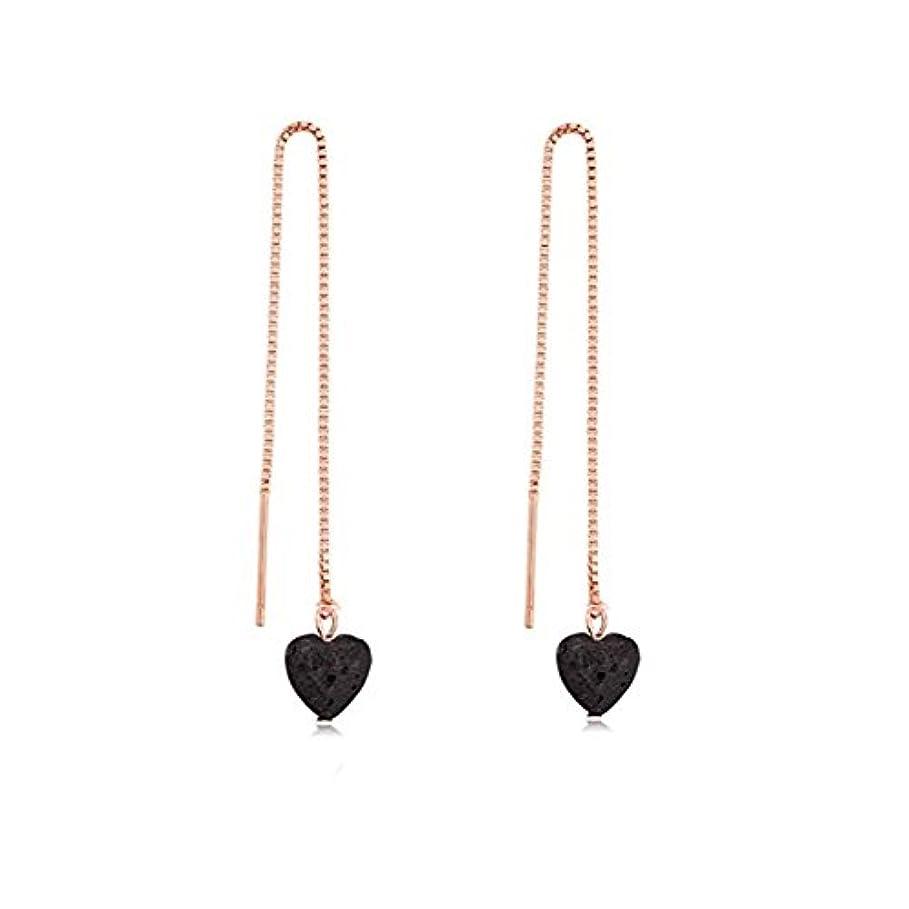manzhen Small Heart Shape Lava Stone ThreaderイヤリングEssential Oil Diffuserイヤリング