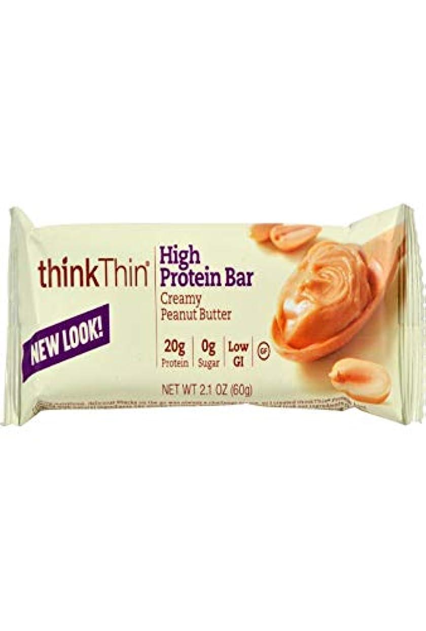 ベルベット喜劇虚弱Think Products - thinkThin タンパク質バー ボックス分厚いピーナッツ バター - 1バー