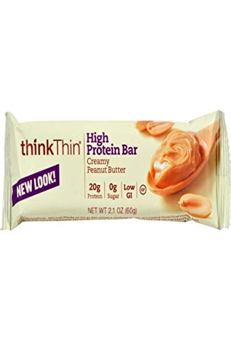 浜辺簡単に保証するThink Products - thinkThin タンパク質バー ボックス分厚いピーナッツ バター - 1バー