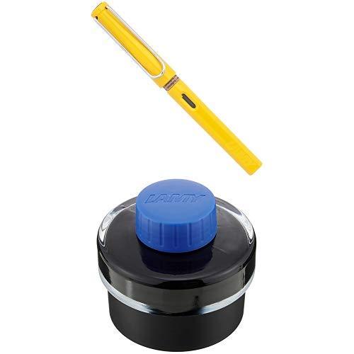 LAMY ラミー 万年筆 ペン先EF(極細字) サファリ イエロー L18-EF 両用式 コンバーター別売 正規輸入品+LAMY ラミー ボトルインク ブルー LT52BL 正規輸入品