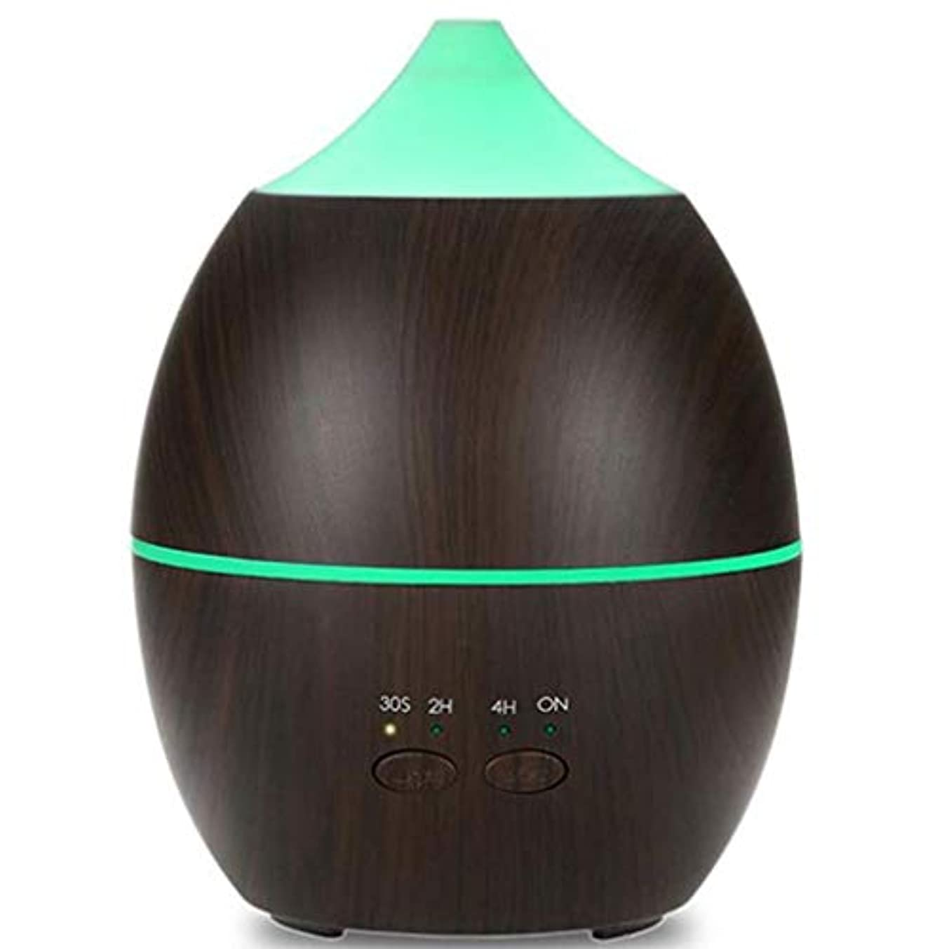 300 Mlエッセンシャルオイルディフューザーアロマディフューザーウッド穀物アロマディフューザーで7色ledライト、調節可能なミストモード用ホームオフィスヨガ