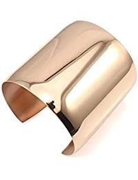 COUYA Stainless Steel Smooth Polished Open Cuff Bangle Bracelet Women Lady Girls Gift