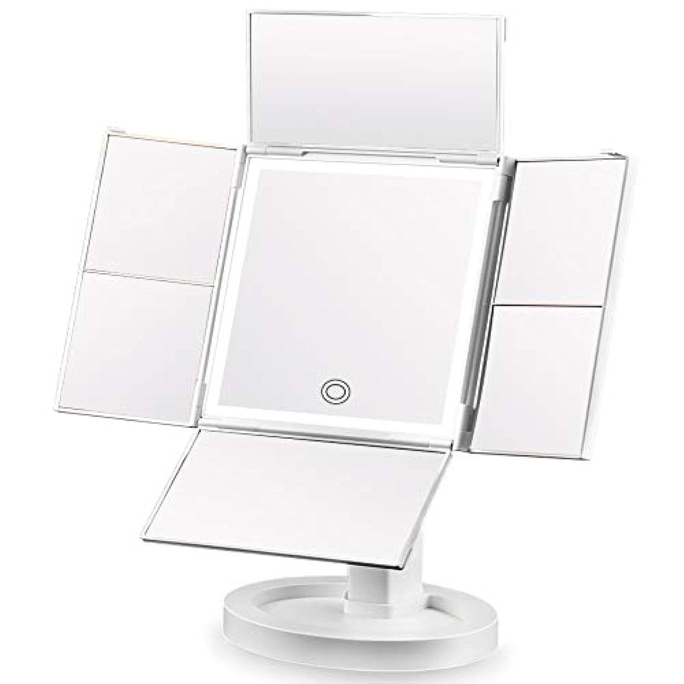 そして巨大なナース化粧鏡 SIX by SIX 化粧ミラー 鏡 四面鏡 女優ミラー 卓上 led付き 折りたたみ 拡大鏡 2&3&5&7倍 明るさ調節可能 180°回転 電池&USB 2WAY給電
