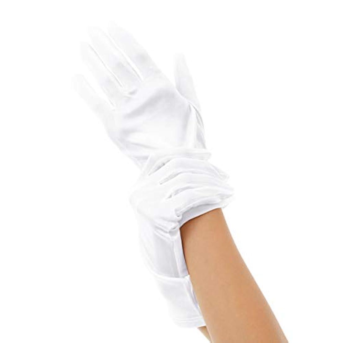 精度番号ハイブリッドSilk 100% ハンドケア シルク 手袋 手首ゆるゆる おやすみ スキンケア グローブ 薄手のスムース素材 外出時の UV対策 や インナーグローブ にも最適 うるおい 保湿 ひび あかぎれ 保護 (L, ホワイト)