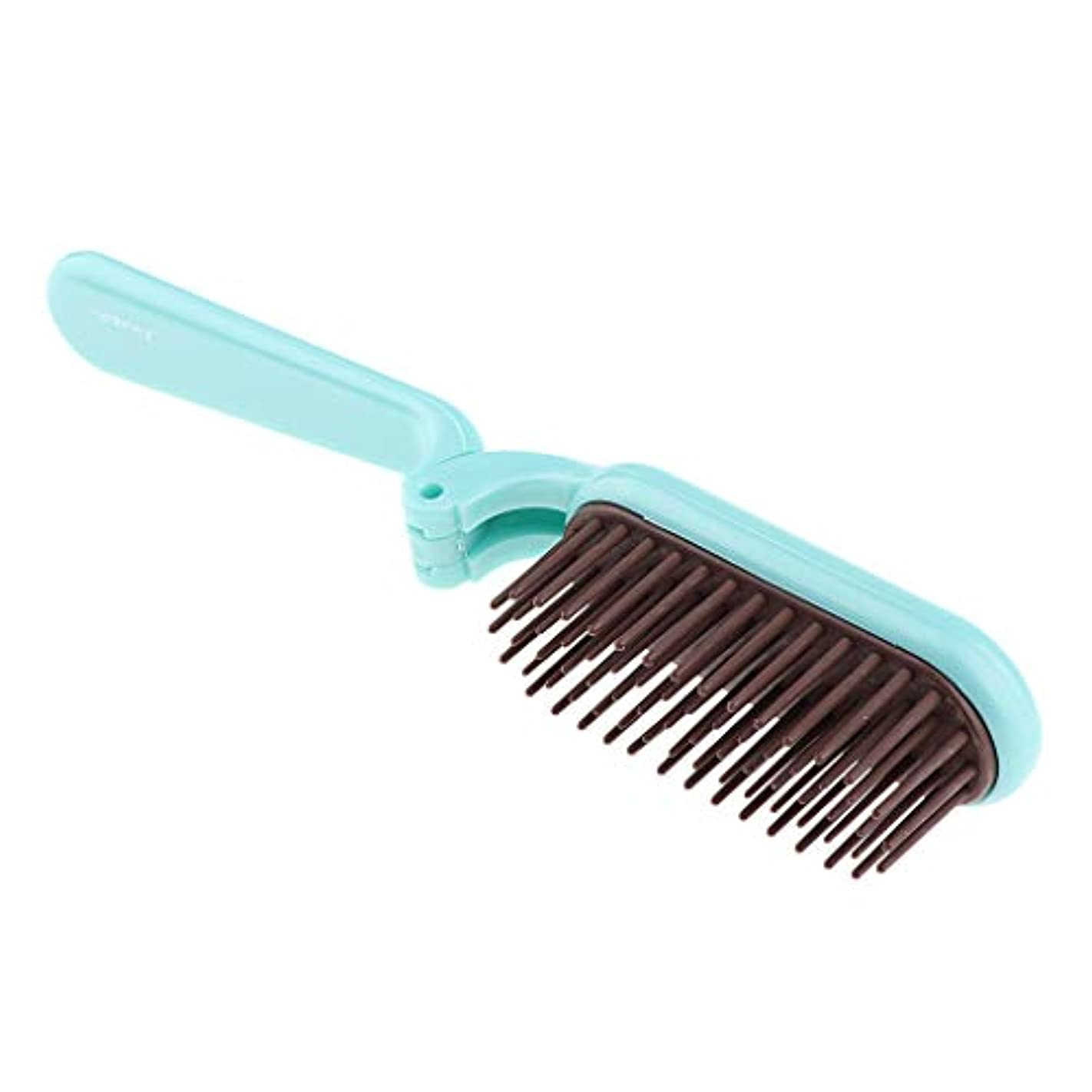 思いつくハグ豪華な折りたたみヘアブラシ 静電気防止櫛 耐熱性 コーム 2色選べ - 青