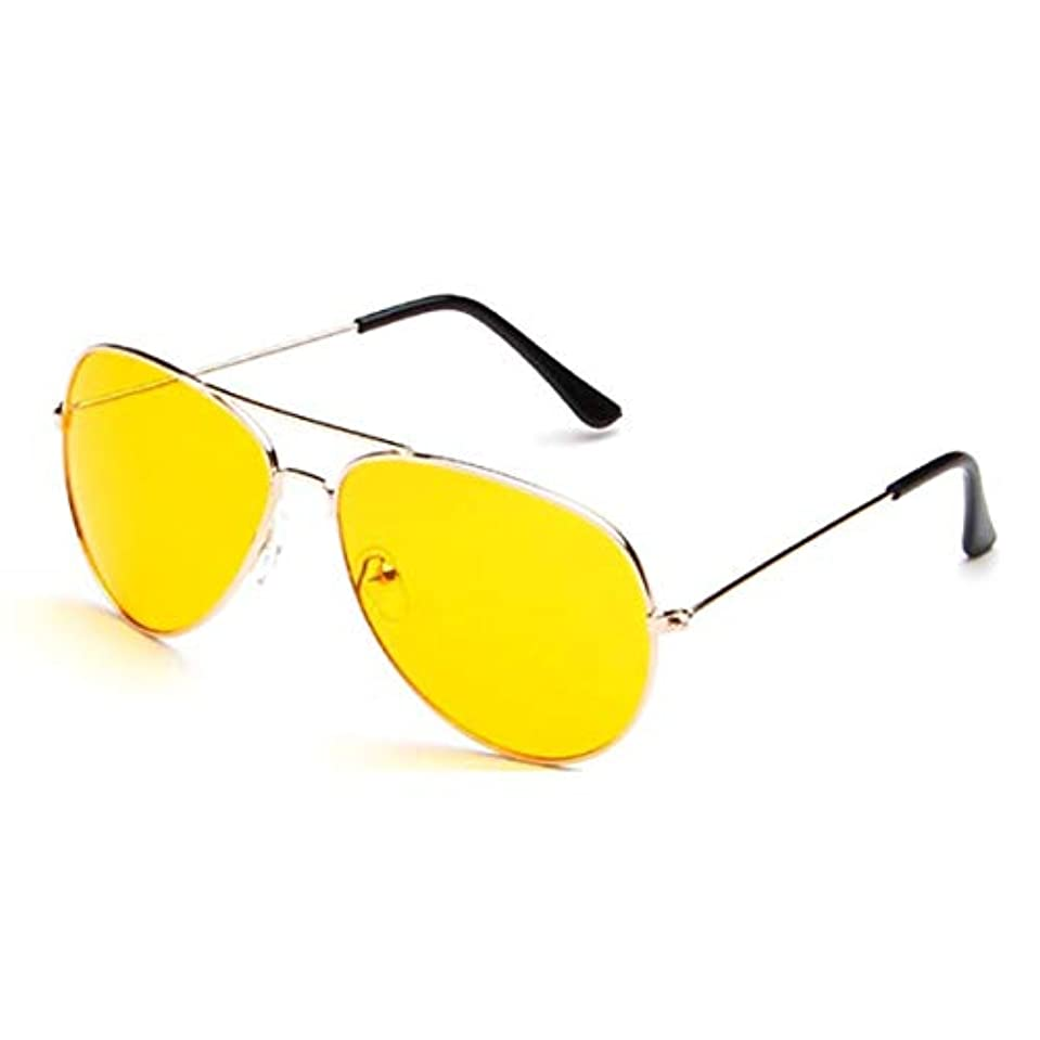 評価する口径みぞれナイトビジョンサングラスナイトサイトHDドライビンググラスアンチグレアUV400保護ナイトアイウェアメンズレディース-ゴールド