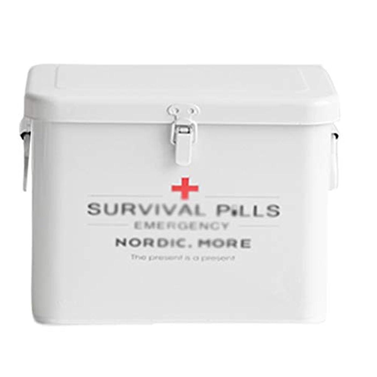 南西不定フック医療用ボックス救急箱ポータブル2ハンドル収納ボックスホワイトピルボックス、二重層-キャビネット、バスルーム、寝室用