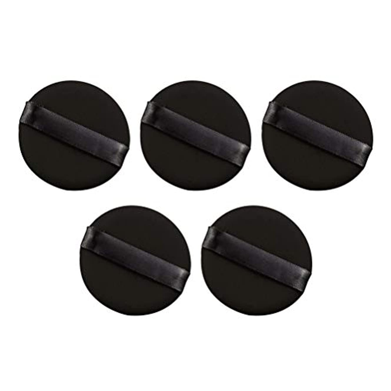 Frcolor パウダーパフ エアクッション 化粧ツール ラテックスではない 弾力性 化粧品 旅行用 5個セット(ブラック)