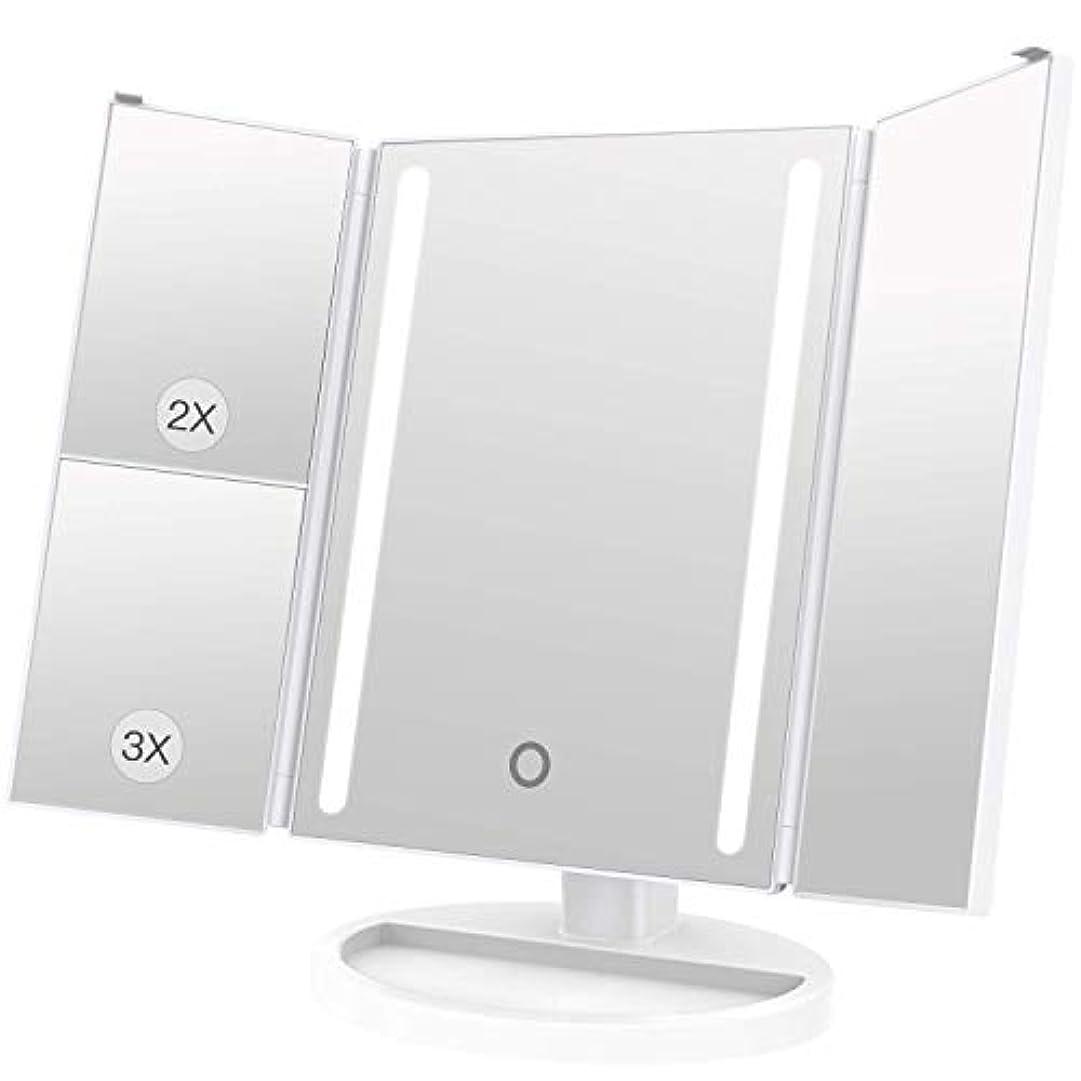 足枷ホステス反動LEEPWEI 化粧鏡 LED 三面鏡 2&3倍拡大鏡付き 明るさ調節可能 180度回転 USB/単三電池給電 (ホワイト)