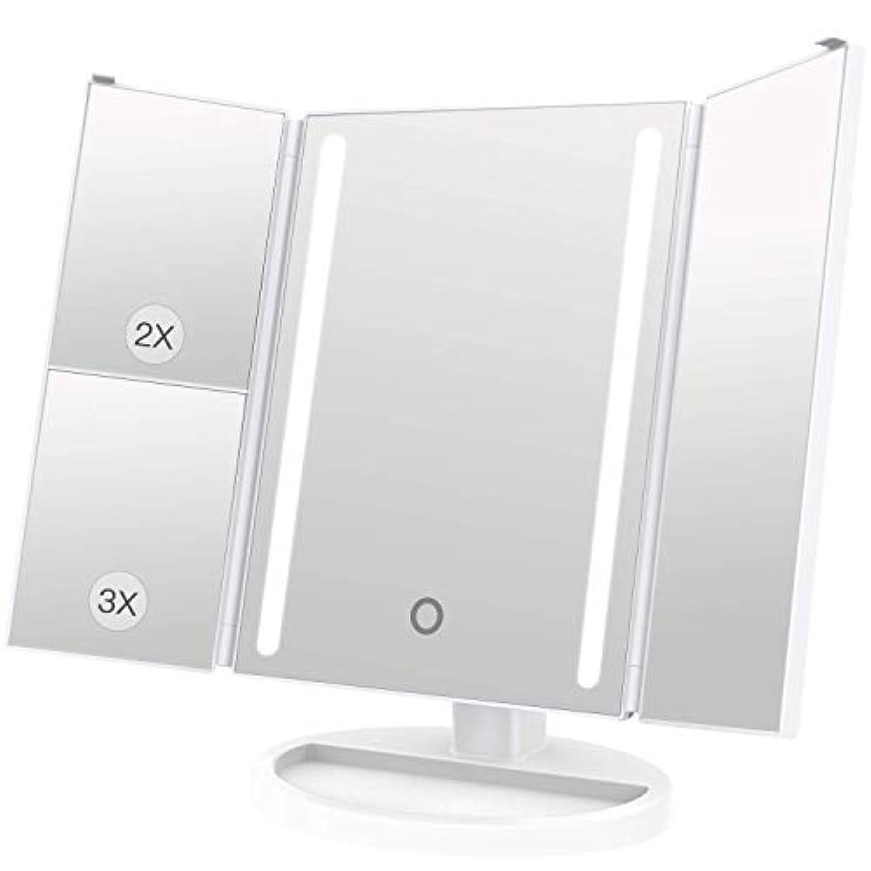 LEEPWEI 化粧鏡 LED 三面鏡 2&3倍拡大鏡付き 明るさ調節可能 180度回転 USB/単三電池給電 (ホワイト)