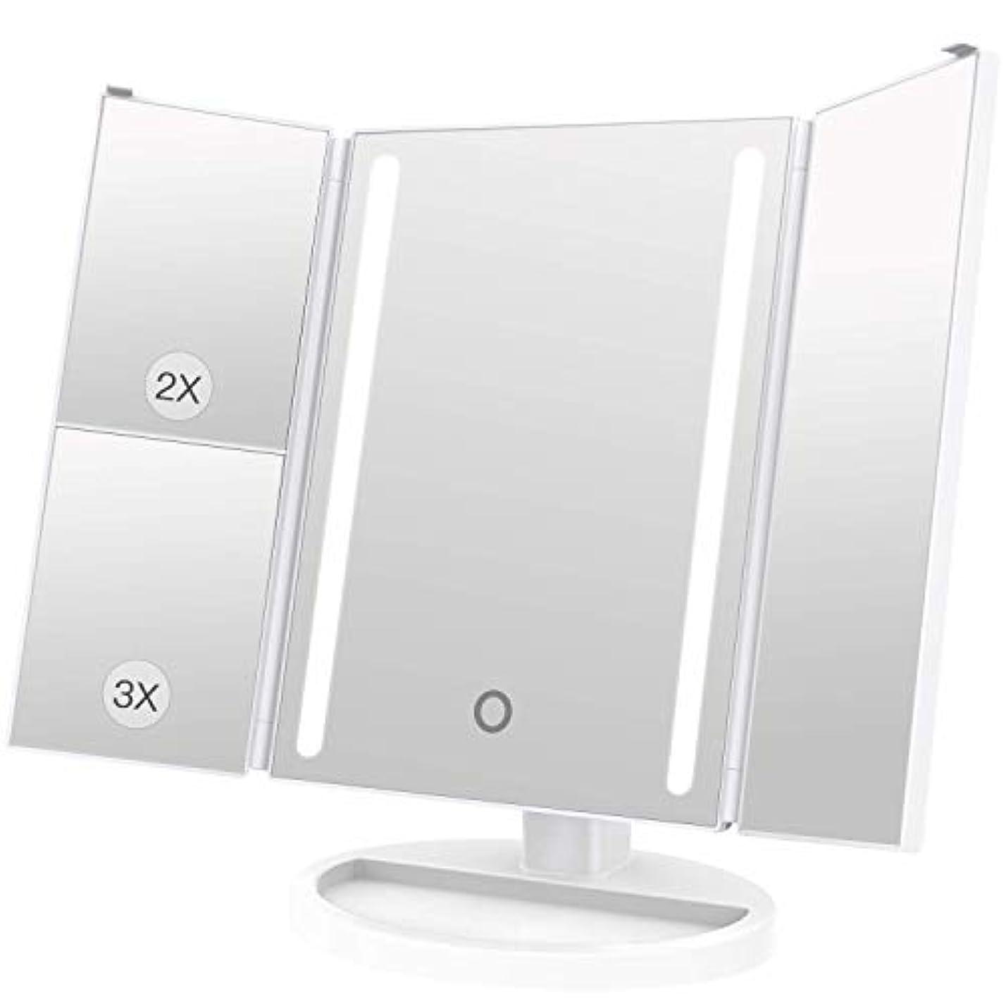 突撃部族キャロラインLEEPWEI 化粧鏡 LED 三面鏡 2&3倍拡大鏡付き 明るさ調節可能 180度回転 USB/単三電池給電 (ホワイト)