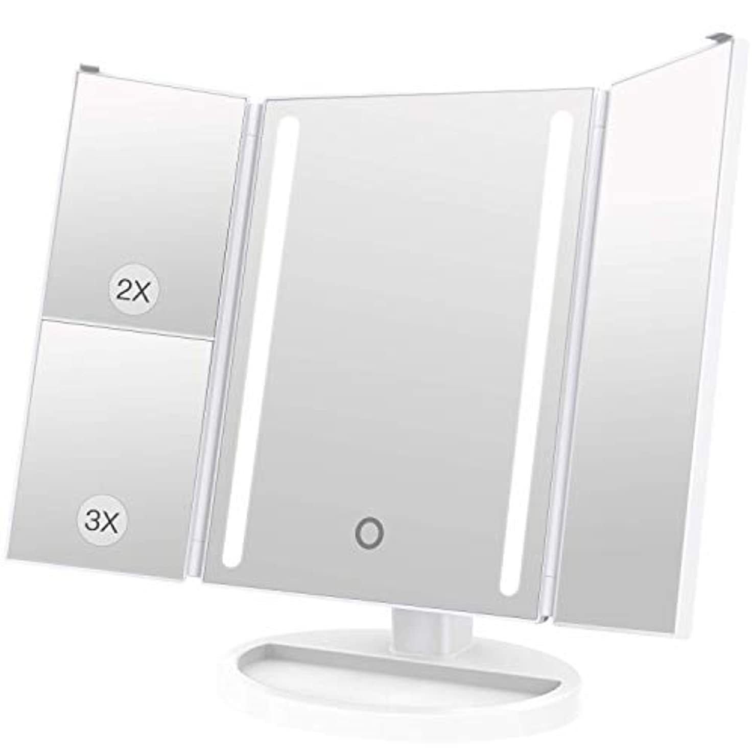 ピッチメドレー銅LEEPWEI 化粧鏡 LED 三面鏡 2&3倍拡大鏡付き 明るさ調節可能 180度回転 USB/単三電池給電 (ホワイト)