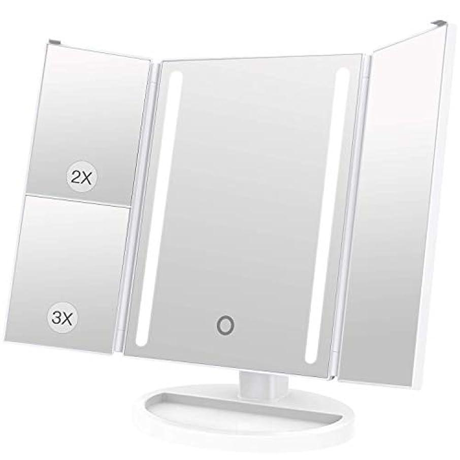 シティアートデータベースLEEPWEI 化粧鏡 LED 三面鏡 2&3倍拡大鏡付き 明るさ調節可能 180度回転 USB/単三電池給電 (ホワイト)