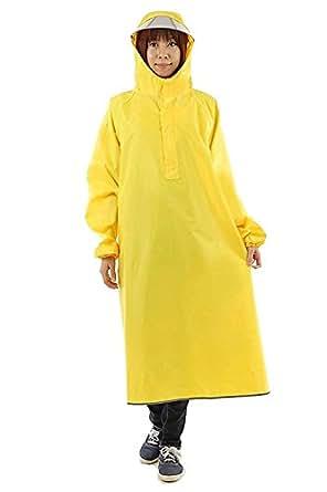 【AMARISE】レインコート (ポンチョ タイプ、袖つき) レインウェア イエロー(黄色) 男女兼用 フリーサイズ