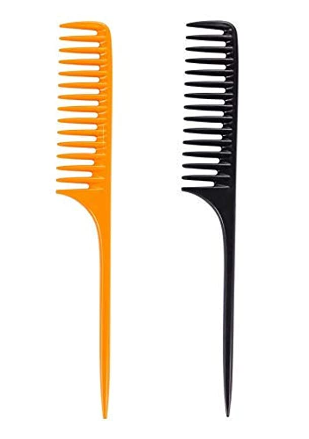 Louise Maelys 2pcs Wide Tooth Rat Tail Comb for Curly Hair Styling Detangle Hair Combs Black and Yellow [並行輸入品]