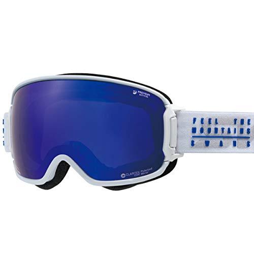【国産ブランド】SWANS(スワンズ) スキー スノーボード ゴーグル はがれないMITミラーレンズ くもり止め プレミアムアンチフォグ搭載 偏光 撥水 メガネ使用可 スキー スノーボード RIDGELINE-MPDHSC-MIT-PAF MAWF