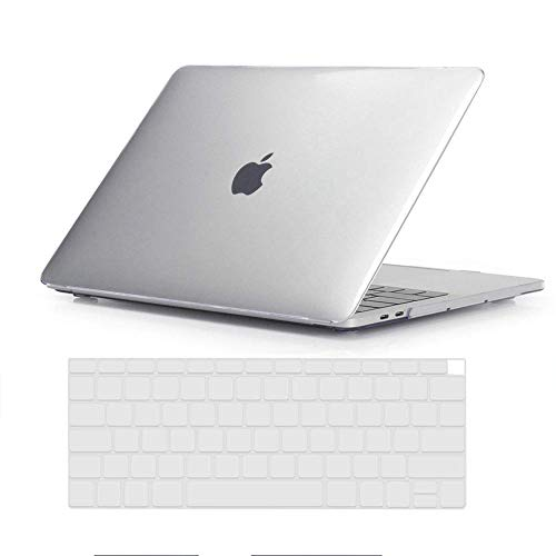 2018 MacBook Air 13 inch Case (A1932) and Keyboard Cover, AICOO 2 in 1 Slim Snap On Plastic Hard Shell Crystal Clear Transparent Mac Air Cover for 2018 New MacBook Air 13 inch A1932, Crystal Clear