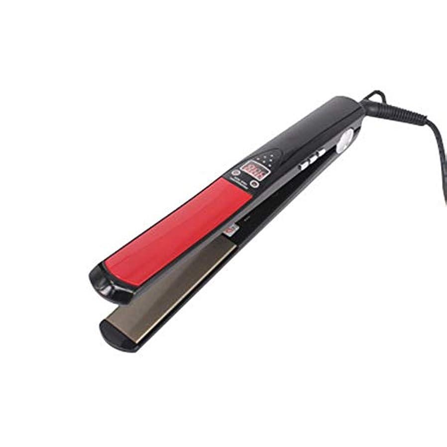 ソケット害虫配分チタニウムのパネルの陶磁器の上塗を施してある二重電圧ヘアーカーラー、専門の1インチの毛のストレートナ モデリングツール (色 : レッド)