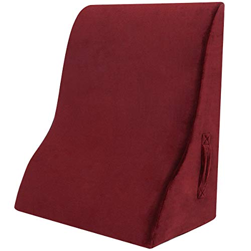 Shinnwa 新設計 三角クッション 高反発 背もたれ ベッド専用 読書用 クッション テレビ腰枕 洗えるカバー ループ付き ワイン