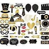 Losuya 2018新しい年パーティー写真ブース小道具46pcs面白いフォトブース小道具for New Years Eveパーティー装飾
