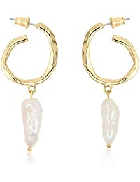 Ash's Choice Large Hoop Dangle Baroque Cultured Freshwater Pearls Earrings with Hypoallergenic Posts for Women Girls