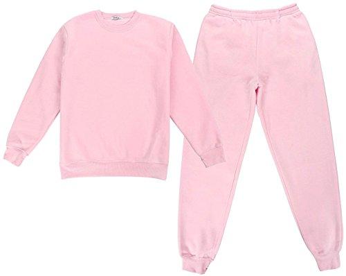 Aoakua ふんわり 軽い スウェット 上下セット ポケット付 裏起毛 あったか 楽ちん ルームウェア (S, ピンク)