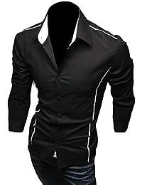 maweisong メンズヒップホップヒップホップスリムフィット固体カジュアルボタンダウンシャツ