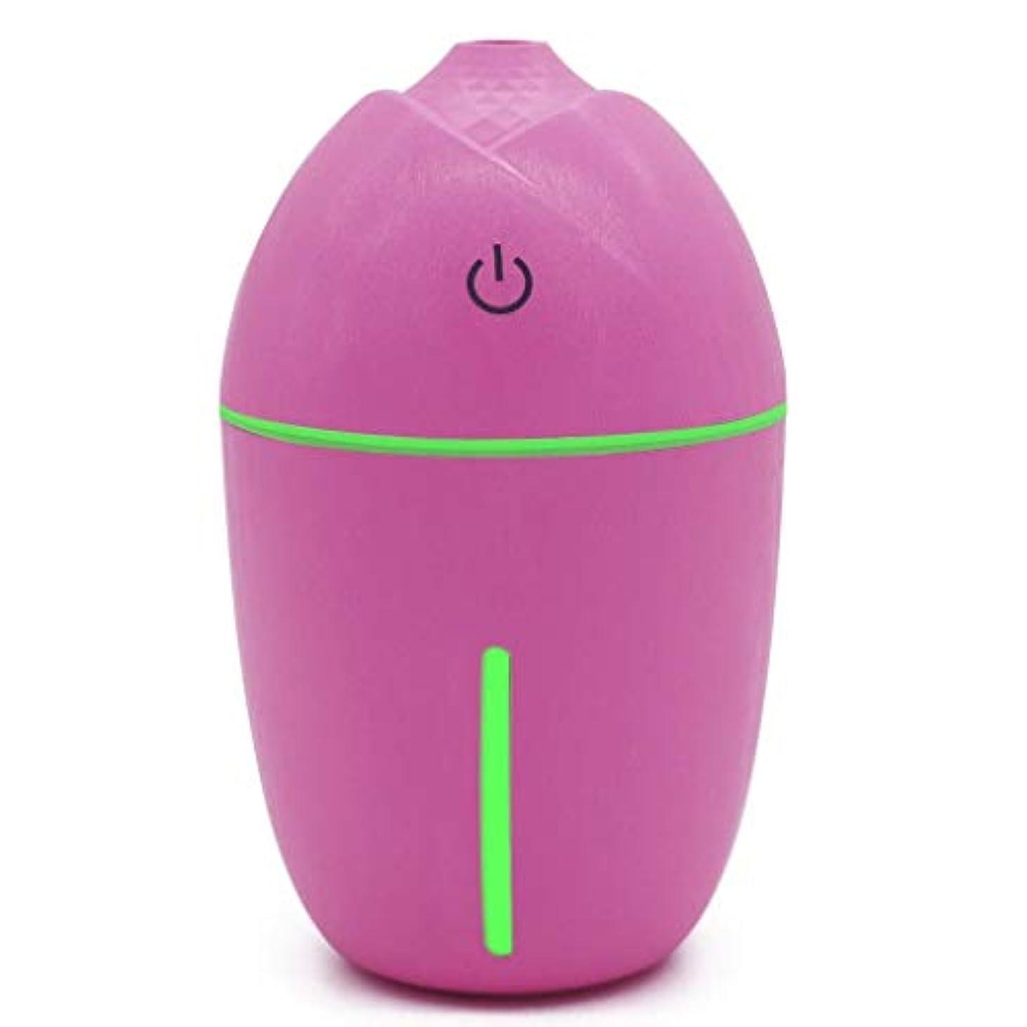 同化する中で足180ミリリットルミニアロマエッセンシャルオイルディフューザー、usb超音波クールミスト加湿器付きledナイトライト用オフィスホームリビングルーム研究ヨガスパ (Color : ピンク)