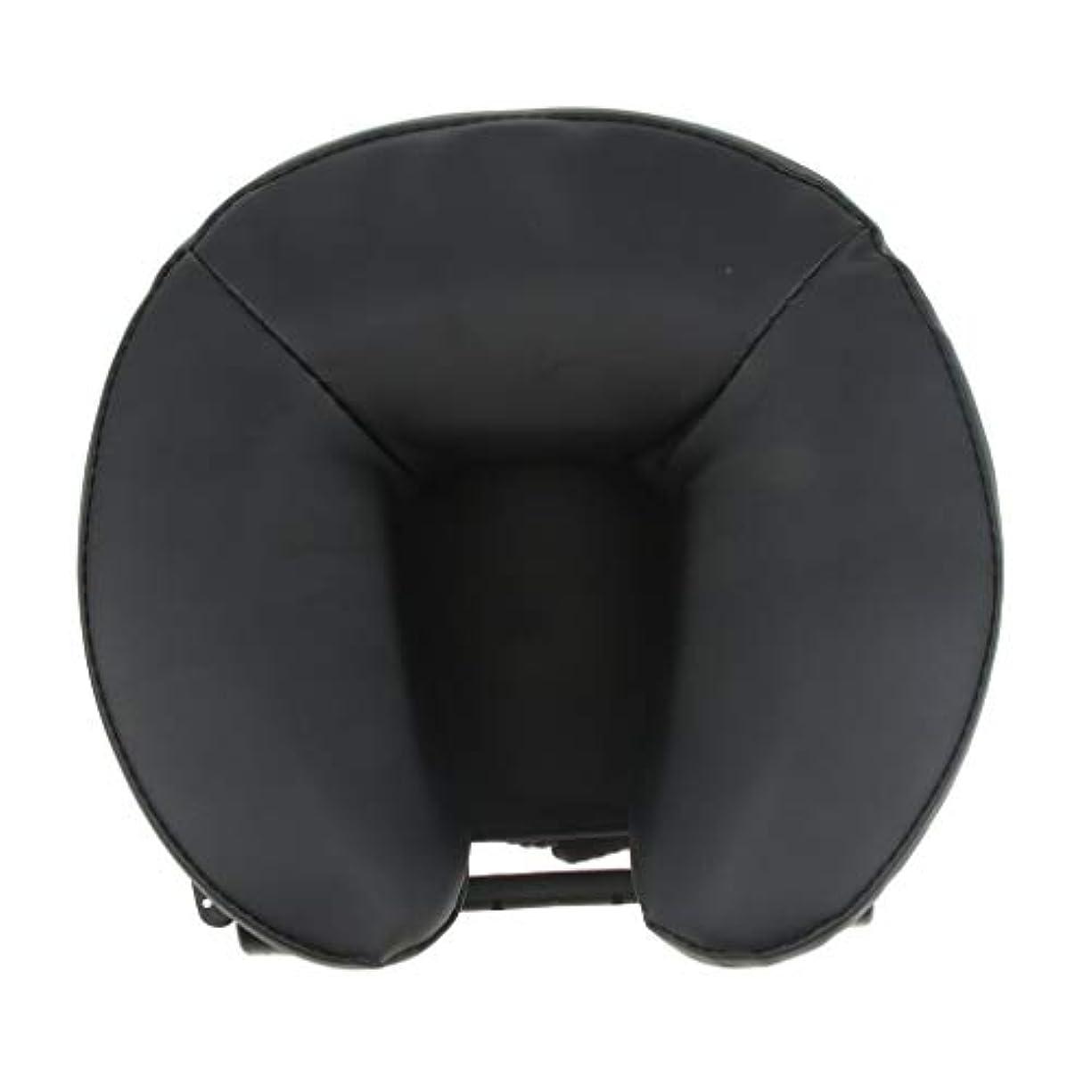 曲がった推定消えるFLAMEER U型 PUレザーカバー マッサージ用クッション 胸当てマクラ 顔枕 首枕 使いやすい 2色選ぶ - ブラック
