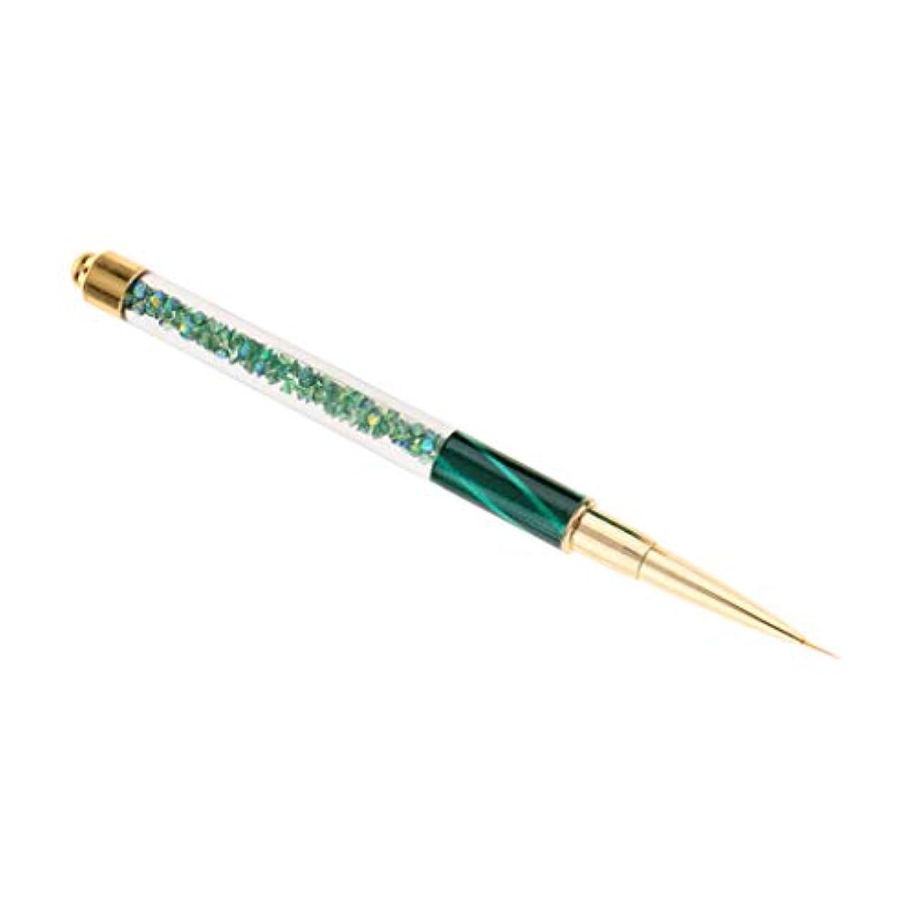 自体子豚固執プロのネイルアートブラシUVジェルポリッシュドローライナーペインティングデザインペン - 濃い緑色