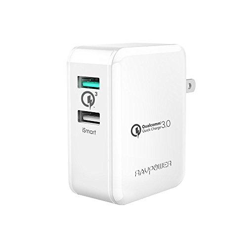 Quick Charge 3.0 急速充電器 RAVPower 30W 2ポート USB充電器 ( 急速充電 iSmart出力自動判別 ) Galaxy S8 / Plus / S7 / Edge / Xperia / Nexus 6 / iPhone / iPad スマホ タブレット モバイルバッテリー 等対応(ホワイト)