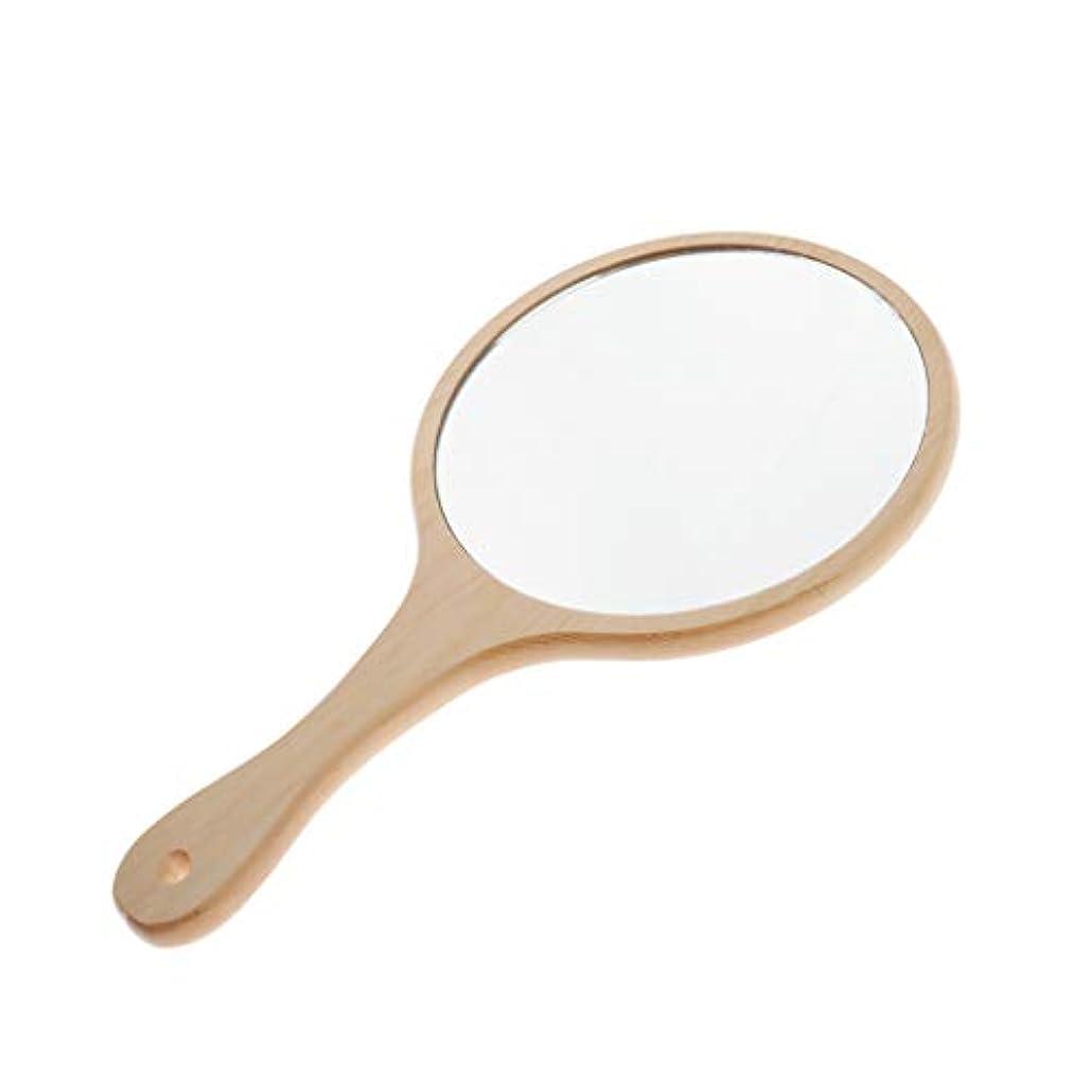 不変住所強盗Toygogo 化粧ミラー 鏡 ミラー コンパクト 木製ミラー 手鏡 メンズ ハンドミラー 便利 軽量 保管簡単 全5選択 - ラウンドL