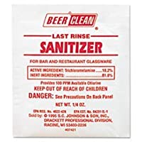 ** Beer Clean Last Rinse Glass Sanitizer, Powder, .25oz Packet, 100/Carton ** by 4COU
