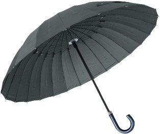 ottostyle.jp 高強度グラスファイバー 24本骨傘 【クールグレー】 テフロン加工 水をはじく 超撥水 強風でも折れにくい 長傘 梅雨 ゲリラ豪雨 夕立