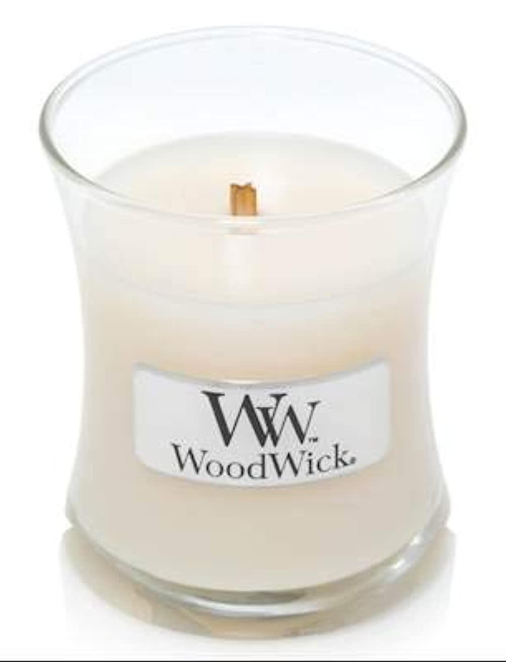 フォアマン放棄する充電WoodWick ホワイトハニーミニ砂時計香り付きジャーキャンドル