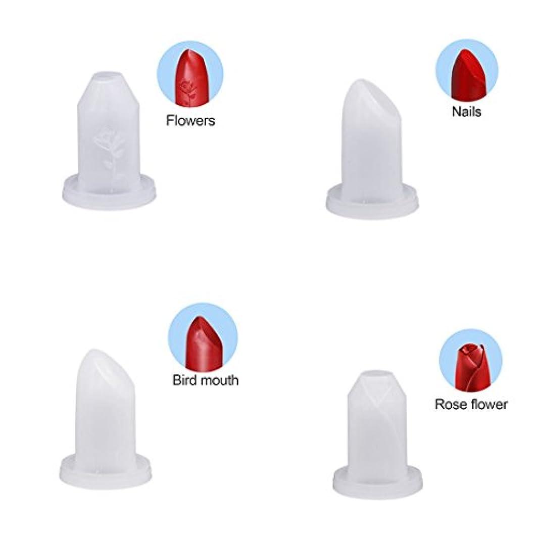 比べる処理する関数SODIAL 4個 手作り DIY 12.1ミリメートル 口紅チューブ シリコーンの金型 口紅モールド 美容ツール 鳥の口/爪/花/バラ