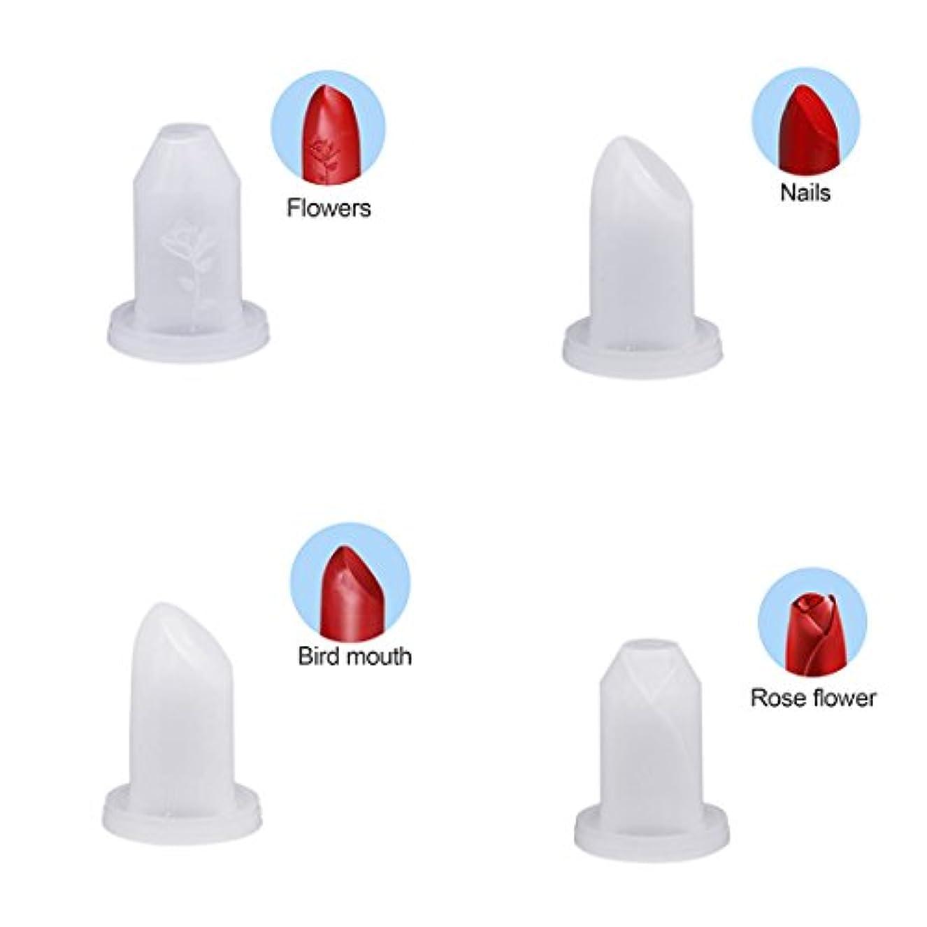 完璧買うファンタジーSODIAL 4個 手作り DIY 12.1ミリメートル 口紅チューブ シリコーンの金型 口紅モールド 美容ツール 鳥の口/爪/花/バラ