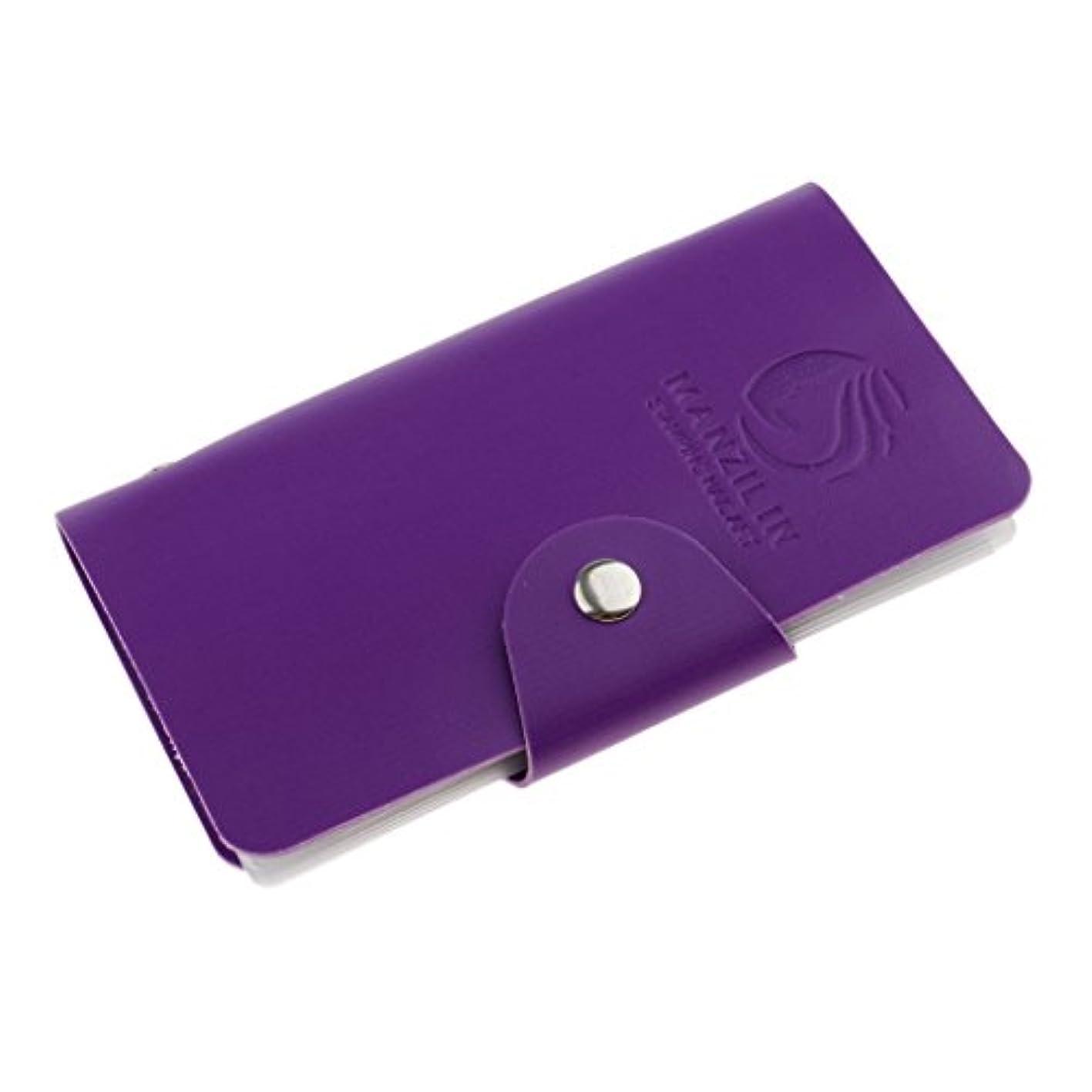 塩辛い原告従順Kesoto ネイルアートプレートスタンパーバッグ 24スロット ネイルアート ステンシルスタンピング プレート ホルダー オーガナイザーケース バッグ 5色選べ - 紫