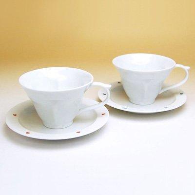 水晶彫 ハートinクローバー(ペア) コーヒー碗皿 | 株式会社草場卯一商店・佐賀県