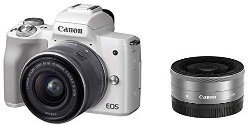 Canon ミラーレス一眼 EOS Kiss M ホワイト ダブルレンズキット EF–M22mm F2 STM/EF-M15-45mm F3.5-6.3 IS STM付属 EOSKISSMWH-WLK