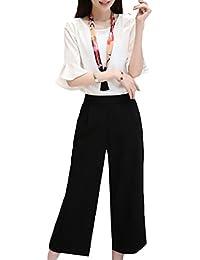 Nicellyer 女性の薄2ピースのファッションパンツオフィスワークシャツとパンツ