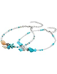 Geerier Handmade Starfish Turtle Anklet Turquoise Pearl Beach Anklet Foot Chain for Women 2pcs Pack