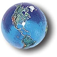 Blue Earth Marble With Natural Earth Continents, Recycled Glass, 5 In A Pouch, Half Inch Diameter