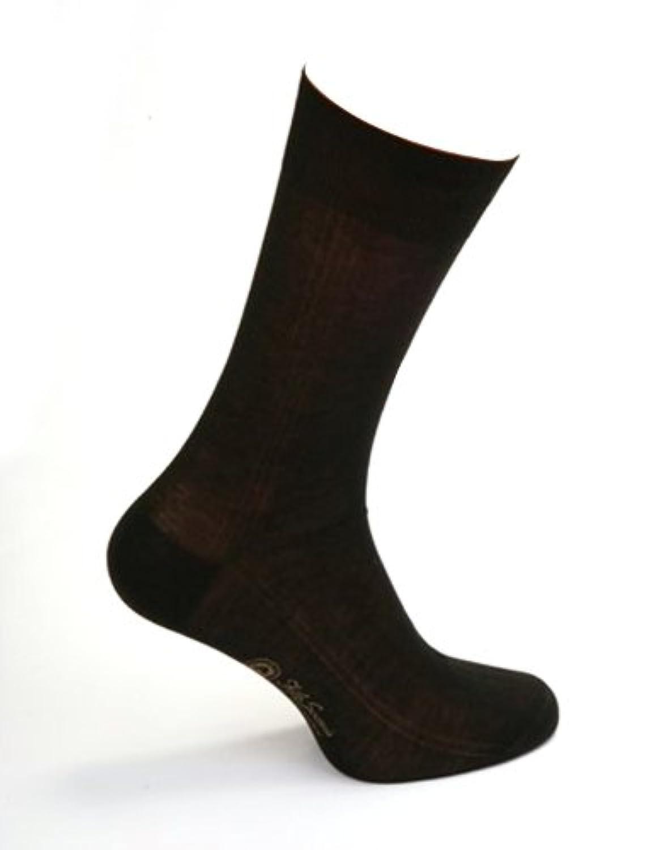 ダニエルジェイコブ(Daniel Jacob) 上質 紳士用 ビジネスソックス  ふくらはぎ丈 ブラック サイドパネルデザイン イタリア製 エジプト綿100%