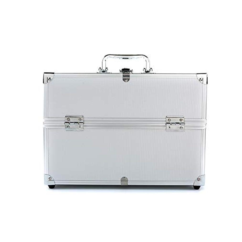 ストローク文言モッキンバード化粧オーガナイザーバッグ 3層ダウールオープン大容量ストレージ美容箱ネイルジュエリーメイクアップ化粧品バニティケースオーガナイザー 化粧品ケース (色 : 銀)