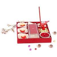 Grehomアロマボックス–Cattleya (レッド) ; Complete Set withキャンドル、Incense Sticks &コーン;美しいギフト